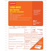 Staples® 2013 Tax Forms, 1099 Misc Continuous Form, 24/PK