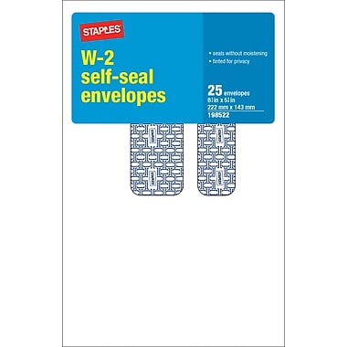 Staples® 2013 Tax Forms, W2 Tax Envelope, 25/PK