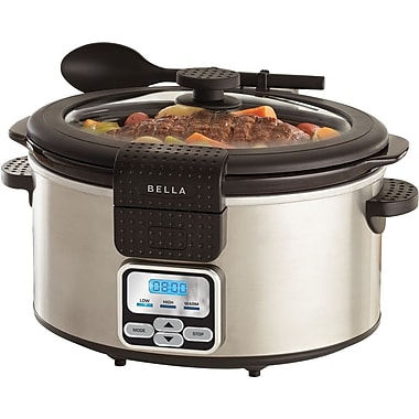BELLA 6 Quart Programmable Slow Cooker, Stainless