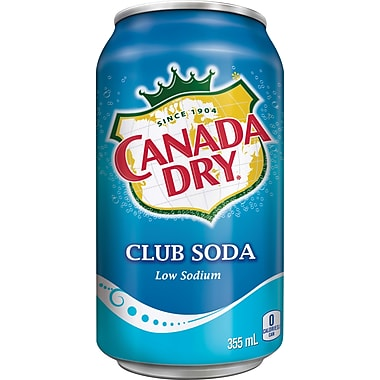 Canada Dry – Club Soda, faible en sodium, Canette de 355 mL, paq./12