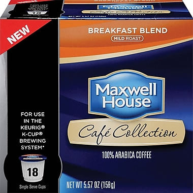 Maxwell House Café Collection K-Cup Breakfast Blend Coffee, Regular, 18/Pack