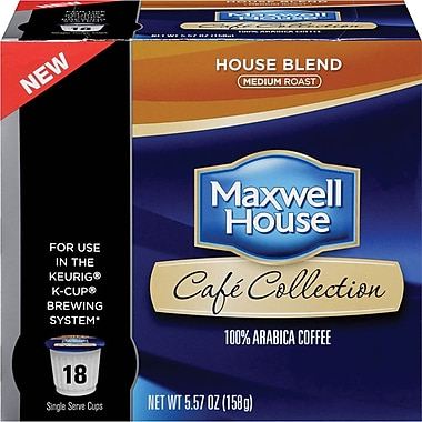 Maxwell House Café Collection Single Service House Blend Coffee, Regular, 18/Pack