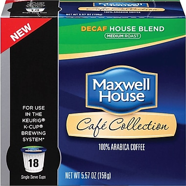 Maxwell House Café Collection Single Serve Coffee; House Blend Coffee, Decaffeinated, 18/Pack