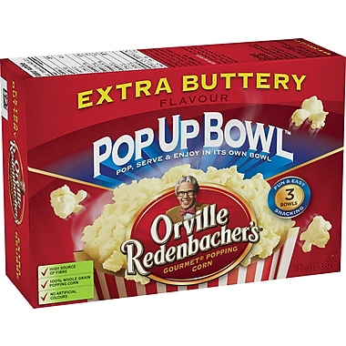 Orville Redenbacher's® Microwave Popcorn, Pop Up Bowl™, Extra Butter Flavour, 3 Bags/Box