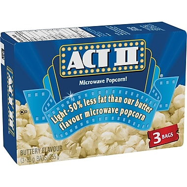 ACT II Microwave Popcorn, Light Buttery Flavour, 3 Bags/Box