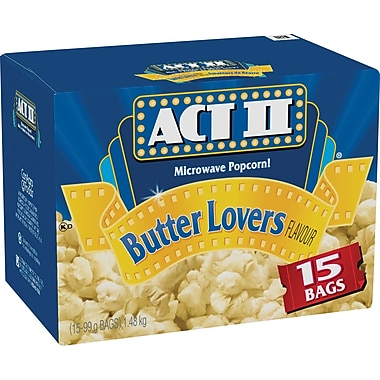 ACT II Microwave Popcorn, Butter Lovers Flavour, 15 Bags/Box