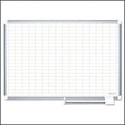 MasterVision®  Magnetic   1x 2 Grid Planner 24x36, Alum.