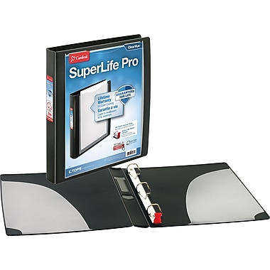 Cardinal SuperLife Pro ClearVue 1-Inch Slant D 3-Ring Binder, Black (54651)