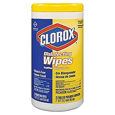 Clorox® Disinfecting Wipes, Lemon Fresh, 75 Wipes/Tub