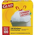 Glad Tall Kitchen Drawstring Trash Bags, White, 13 Gallon, 100 Bags/Box