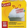 Glad® Tall Kitchen Drawstring Trash Bags, White, 13 Gallon, 100 Bags/Box