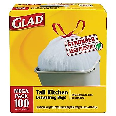 Glad Tall Kitchen Trash Bags, White, 13 Gallon, 100 Bags/Box
