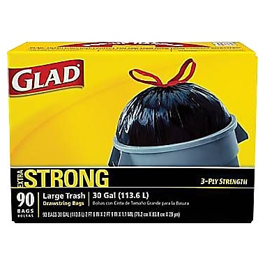 Glad Trash Bags, Black, 30 Gallon, 90 Bags/Box
