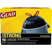 Glad® Trash Bags, Black, 30 Gallon, 90 Bags/Box