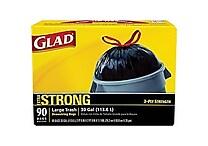 Glad® Trash Bags, Black, 30 Gallon, 90 Bags/Box