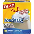 Glad® ForceFlex Stretchable Strength Drawstring Kitchen Trash Bags, White, 13 gal, 100 ct