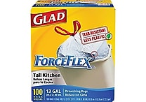 Glad® ForceFlex® Stretchable Strength Drawstring Kitchen Trash Bags, White, 13 gal, 100 ct