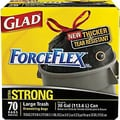 Glad® ForceFlex Stretchable Strength Drawstring Trash Bags, Black, 30 gal, 70 ct