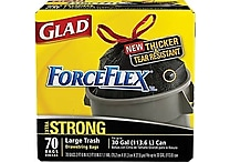 Glad® ForceFlex™ Stretchable Strength Drawstring Trash Bags, Black, 30 gal, 70 ct