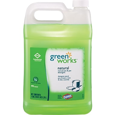 Clorox Green Works Naturally Derived Manual Pot & Pan Dishwashing Liquid, 128 oz
