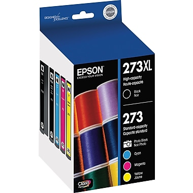 Epson 273XL/273 High Yield Black and Standard Photo Black and Color C/M/Y Ink Cartridges (T273XL-BCS), Combo 4/Pack