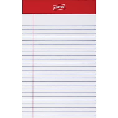 Staples® Perforated Notepad, Narrow Ruled, White, 5in. x 8in., 12/Pack