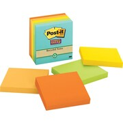Post-it® Super Sticky 3 x 3 Recycled Farmers Market Notes, 5 Pads/Pack