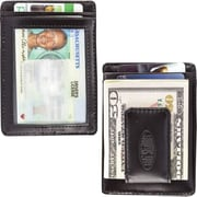 Big Skinny Leather Hybrid Magnetic Money Clip in Tuxedo Black