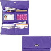 Big Skinny Nylon Microfiber Monte Cougar Checkbook Wallet in Electric Purple