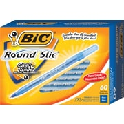 BIC® Round Stic® Ballpoint Pens, Medium Tip, 1.0mm, 60/Pack