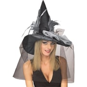Adult Witch Hat, Black with Feathers