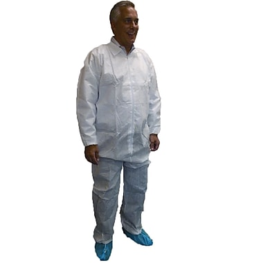 Keystone Disposable SMS Coveralls with Elastic Wrists and Ankles, White, 55 g, Large, 25/Case