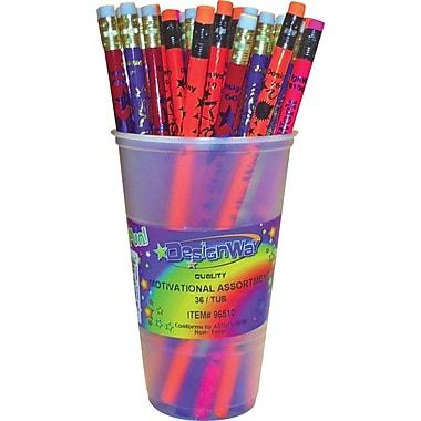 DesignWay #2 Assorted Motivational Pencils, 36/Cup