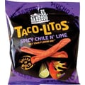 Tacos-Litos Rolled Tortilla Chips, Spicy Chile n' Lime, 12 Bags/Box