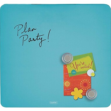 Quartet® Tin Square Magnetic Dry-Erase Board, Frameless, Blue, 12in. x 12in.
