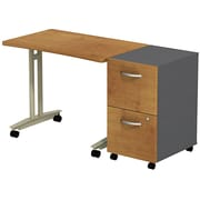 Bush Business Westfield Adjustable Height Mobile Table with 2-Drawer Mobile Pedestal, Natural Cherry/Graphite Gray, Installed