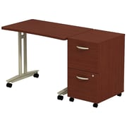 Bush Business Westfield Adjustable Height Mobile Table with 2-Drawer Mobile Pedestal, Cherry Mahogany, Installed