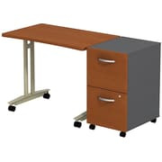 Bush Westfield Adjustable Height Mobile Table w/ Mobile Ped Autumn Cherry/Graphite Gray, FA