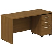 Bush Business Westfield 60W Desk/Credenza Shell with 3-Drawer Mobile Pedestal, Cafe Oak, Installed
