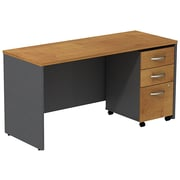 Bush Westfield 60 W Credenza Shell Desk w/  Mobile Ped Natural Cherry/Graphite Gray, FA