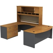 Bush Business Westfield 72W Bowfront LH U-Station with 2-Door Hutch and Lateral File, Natural Cherry/Graphite Gray, Installed