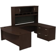 Bush Westfield Bowfront RH U-Station with Hutch and 2-Dwr Lateral File, Mocha Cherry, Installed