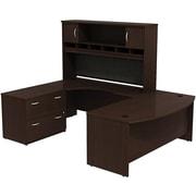 Bush Westfield Bowfront LH U-Station with Hutch and 2-Dwr Lateral File, Mocha Cherry, Installed