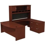 Bush Westfield 72 Bowfront Desk Shell, 72 RH Corner Module, Hutch & Lateral File StorageCherry Mahogany, FA