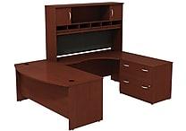 Bush Westfield 72' Bowfront Desk Shell, 72' RH Corner Module, Hutch & Lateral File StorageCherry Mahogany, FA