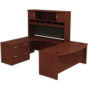 Bush Westfield 72 Bowfront Desk Shell, 72 LH Corner Module, Hutch & Lateral File StorageCherry Mahogany, FA