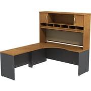 Bush Business Westfield 72W LH Corner L-Desk with 72W 2-Door Hutch, Natural Cherry/Graphite Gray, Installed