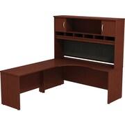 Bush Business Westfield 72W LH Corner L-Desk with 72W 2-Door Hutch, Cherry Mahogany, Installed