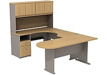 Bush Cubix U-Desk w/ Expandable Corner Desk, Bridge & Peninsula Desk. Danish Oak/Sage, Fully Assembled
