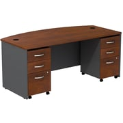 Bush Business Westfield 72W Bowfront Shell Desk with (2) 3-Drawer Mobile Pedestals, Hansen Cherry/Graphite Gray, Installed